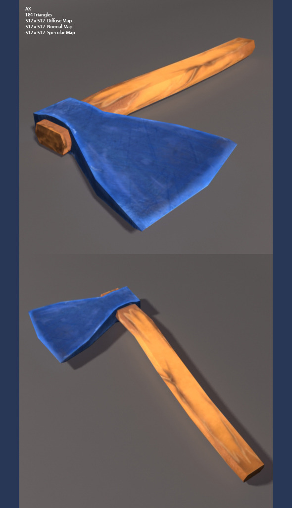 Low Poly and high Poly Axe  - 3DOcean Item for Sale