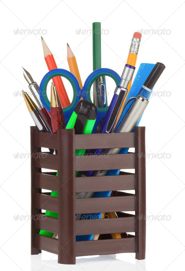 school accessories in holder on white - Stock Photo - Images