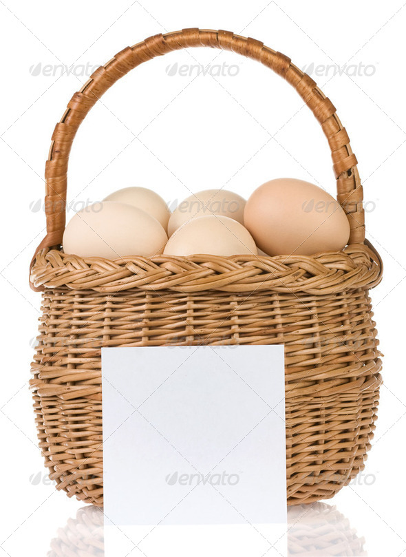 eggs and basket with price tag - Stock Photo - Images