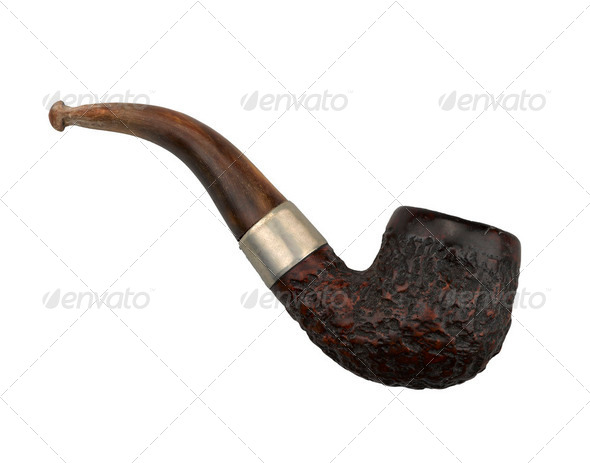 the old pipe on white background - Stock Photo - Images