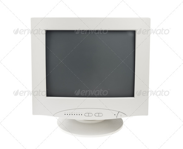 Old Crt Monitor Screen Display for pc isolated white background - Stock Photo - Images