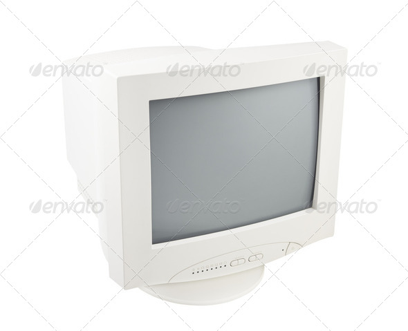 Old Pc Crt Monitor Screen Display isolated white background - Stock Photo - Images