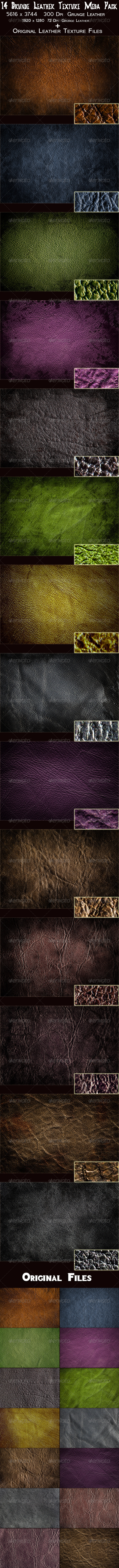 14 Grunge Leather Texture Mega Pack - Fabric Textures