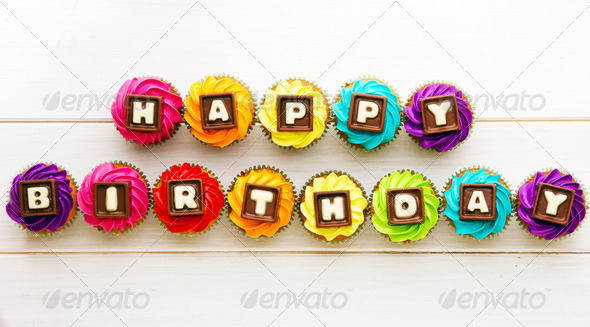 Happy birthday cupcakes - Stock Photo - Images