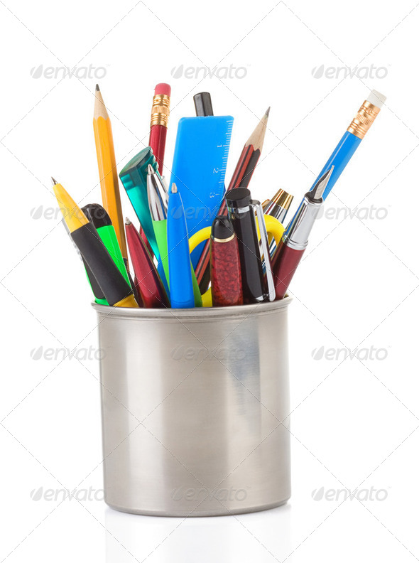 pen and pens in holder on white - Stock Photo - Images