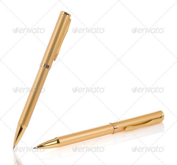 gold shining pens isolated on white - Stock Photo - Images