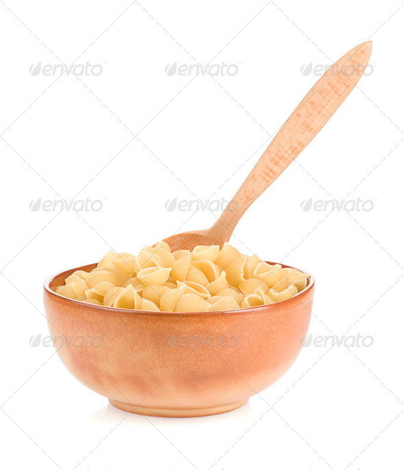 raw pasta and plate - Stock Photo - Images