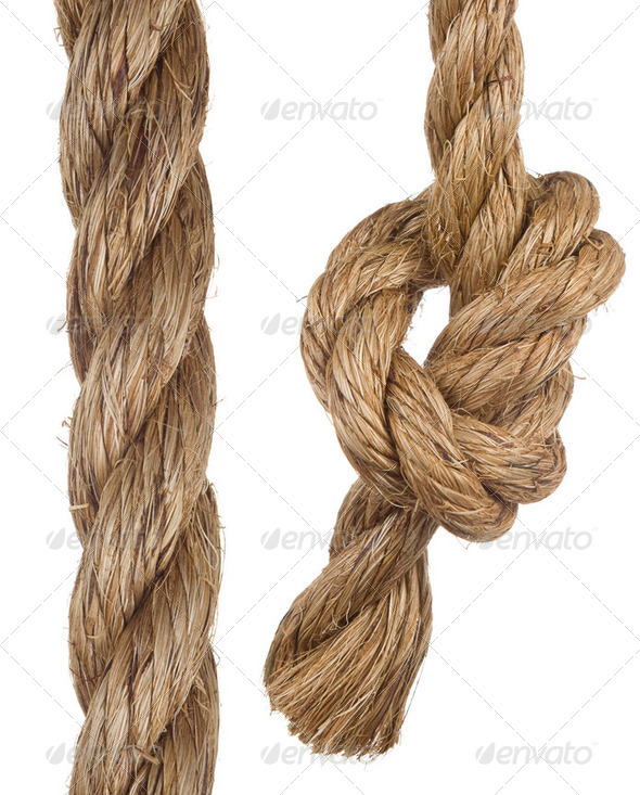 ship rope with knot on white - Stock Photo - Images