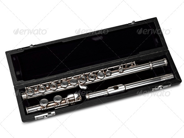Flute in box Isolated on White - Stock Photo - Images