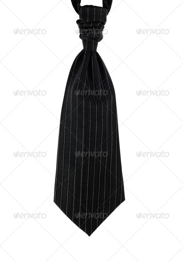 Wedding tie for men. Pinstripe, black isolated on white - Stock Photo - Images