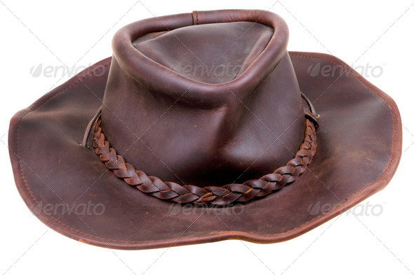 old leather brown cowboy hat - Stock Photo - Images