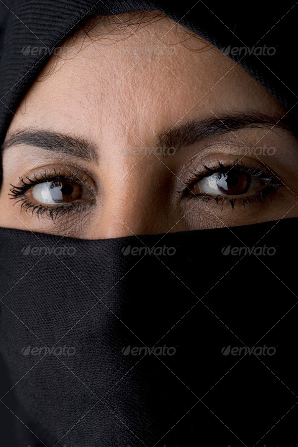 Portrait of an Arabic Muslim Woman - Stock Photo - Images