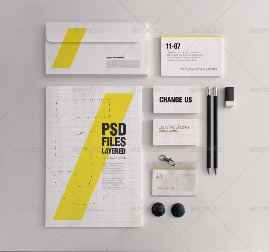 realistic stationery mockups set 1- corporate idgiallo, Powerpoint templates