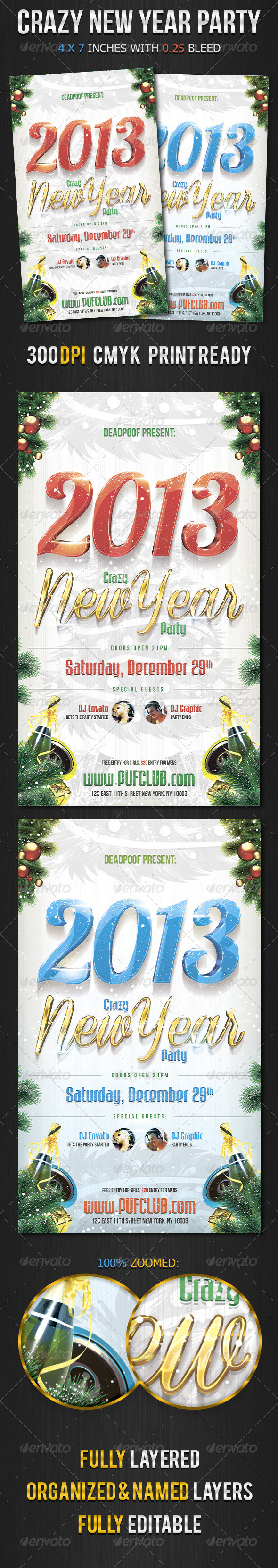 Crazy New Year Party Flyer - Holidays Events