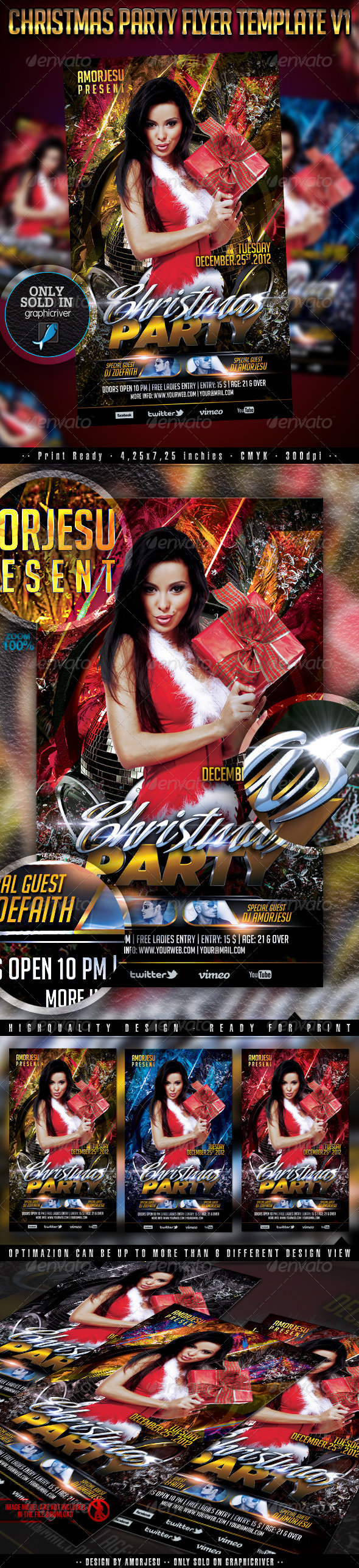Christmas Party Flyer Template V1 - Events Flyers
