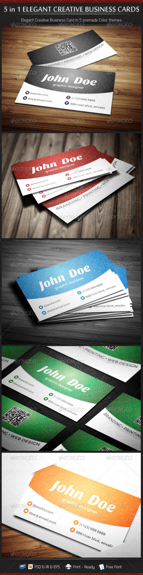 5 in 1 Creative Elegant Business Card Template by gbs | GraphicRiver
