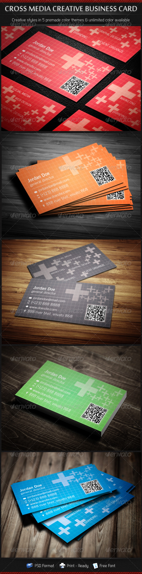Cross Media Creative Business Cards 5 in 1 - Creative Business Cards