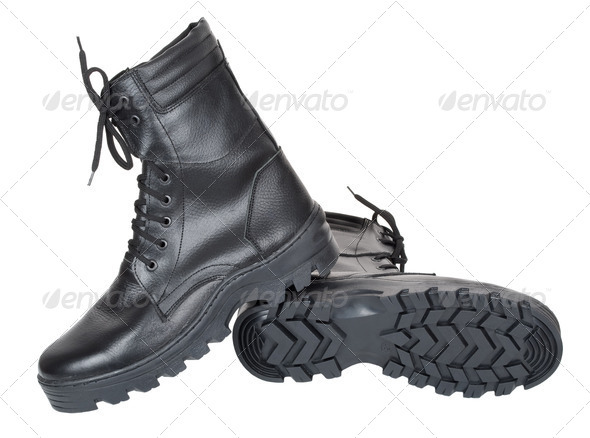 Black leather army boots - Stock Photo - Images