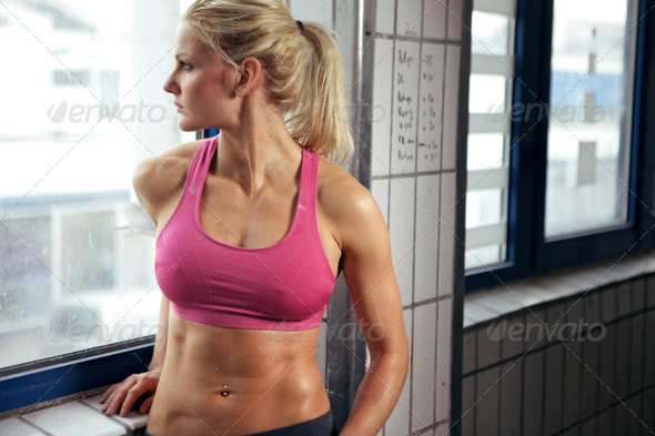 Fitness Woman Resting - Stock Photo - Images