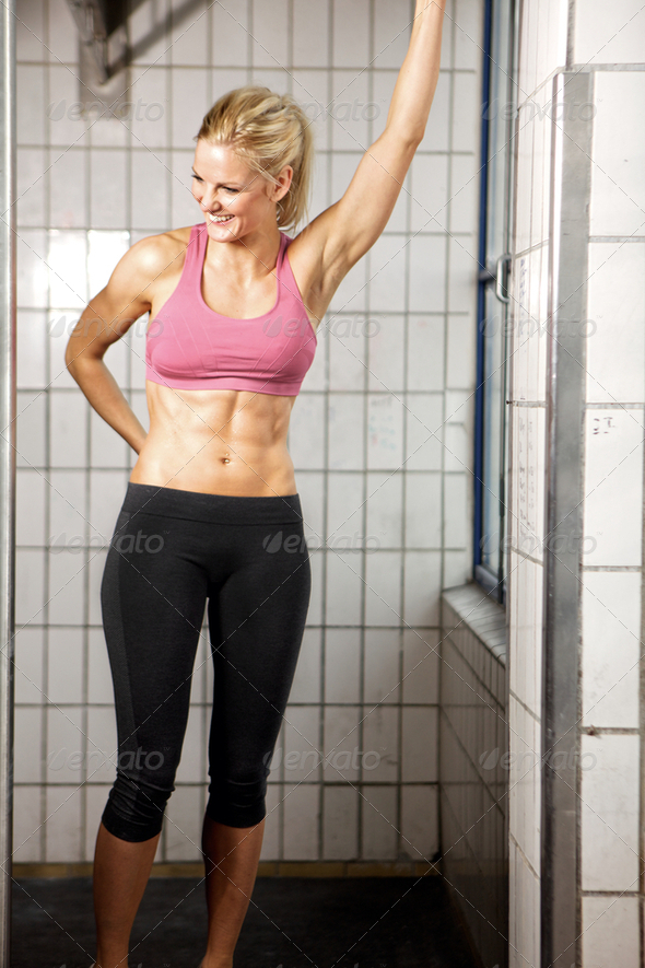 Happy Fitness Woman in Gym - Stock Photo - Images