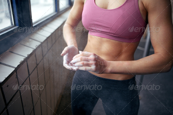 Woman Chalking Hands - Stock Photo - Images
