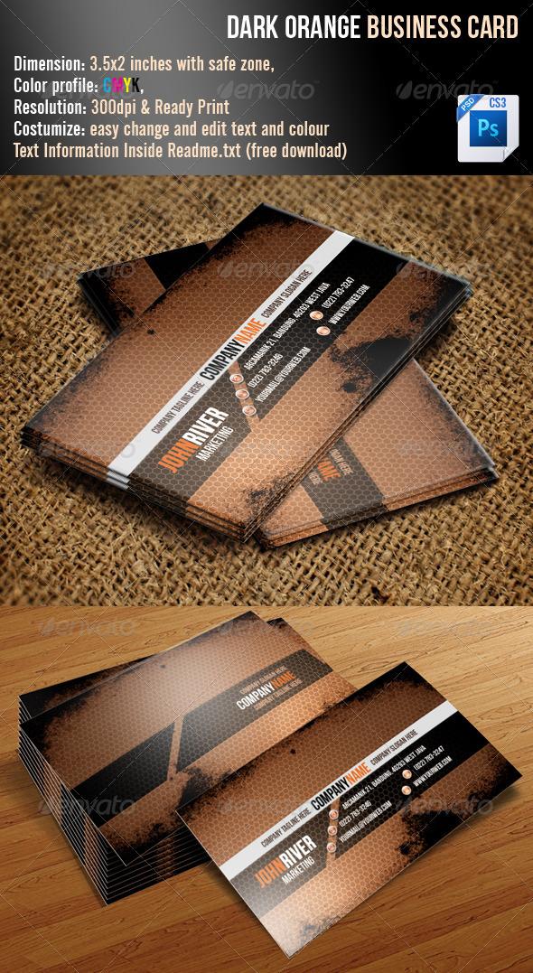 Dark Orange Grunge Business Card - Grunge Business Cards