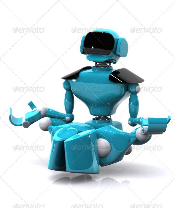 Robot Meditating - Characters 3D Renders