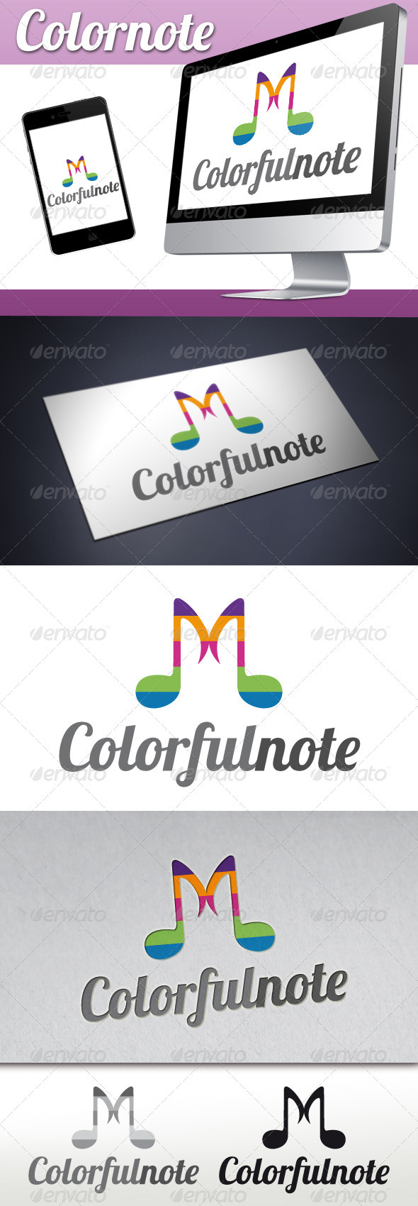 Music Colorful Notes Logo - Objects Logo Templates
