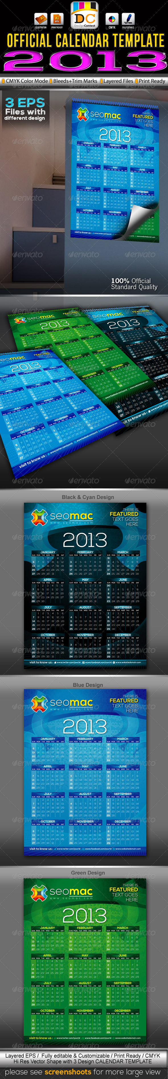 SeoMac_2013 Official Calendar Templates - Calendars Stationery
