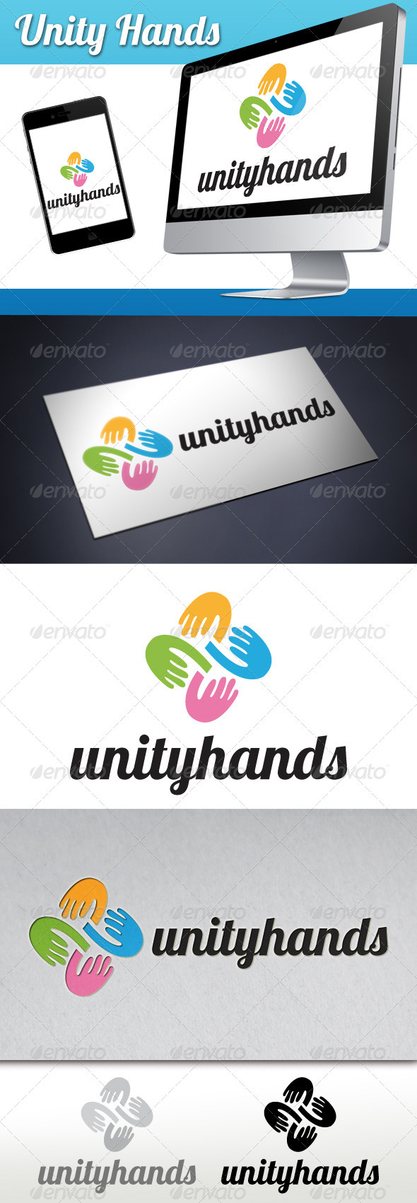 Unity Hands Logo - Humans Logo Templates