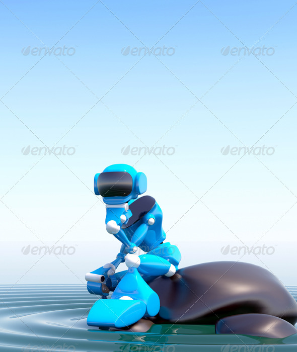 Robot On Stone - 3D Backgrounds
