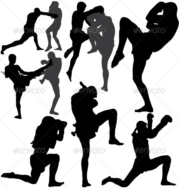 Muay Thai (Thai Boxing) vector silhouettes - Sports/Activity Conceptual