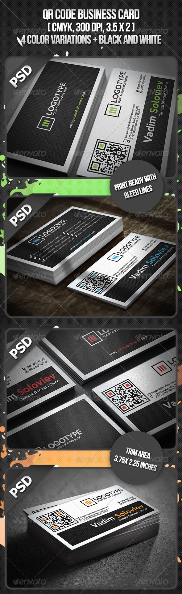 QR Code Business Card - Business Cards Print Templates
