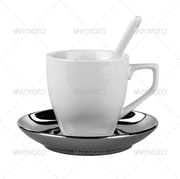 Small white coffee cup isolated on white ( clipping path ) - Stock Photo - Images
