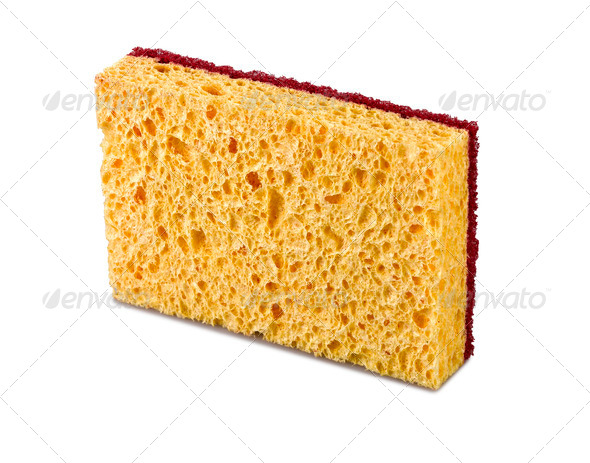 A kitchen sponge isolated on the white background - Stock Photo - Images