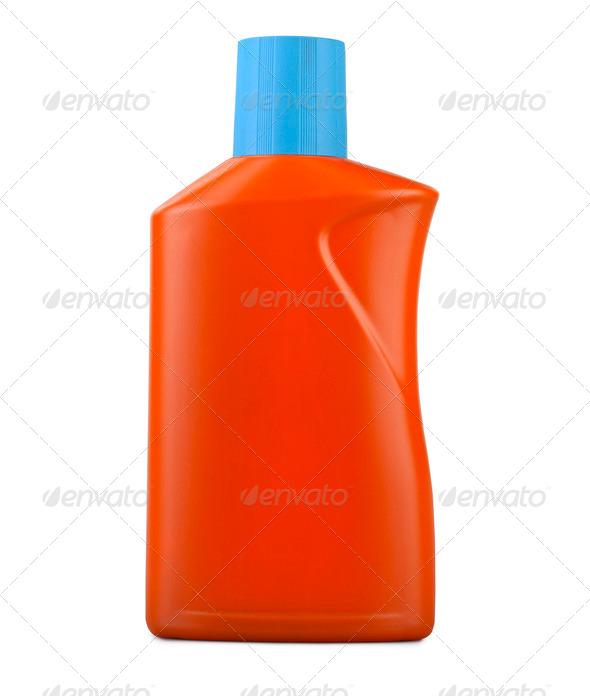 Orange plastic bottle isolated on a white background ( clipping - Stock Photo - Images