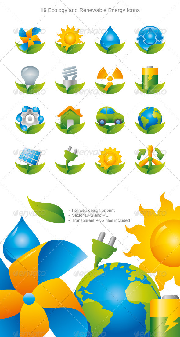 Shiny Green Energy Eco Icons - Media Icons