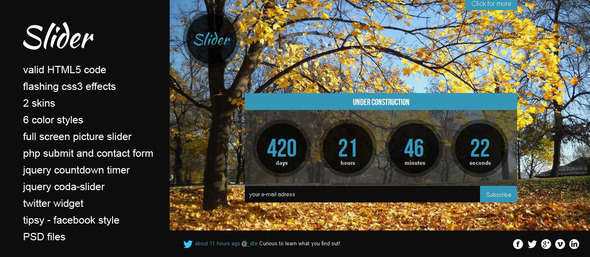 Slider - HTML5 under construction website template