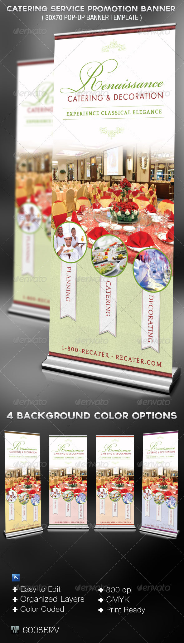 Catering Service Promotional Banner Template - Signage Print Templates