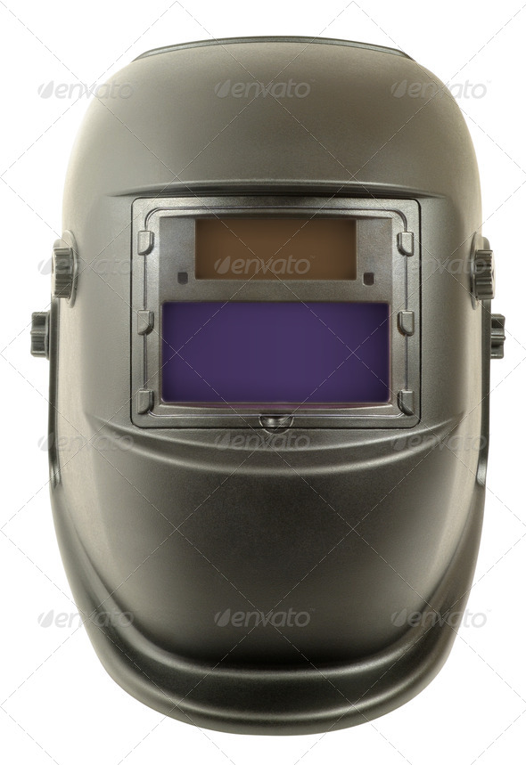 Modern Welding mask chameleon rechargeable solar battery - Stock Photo - Images