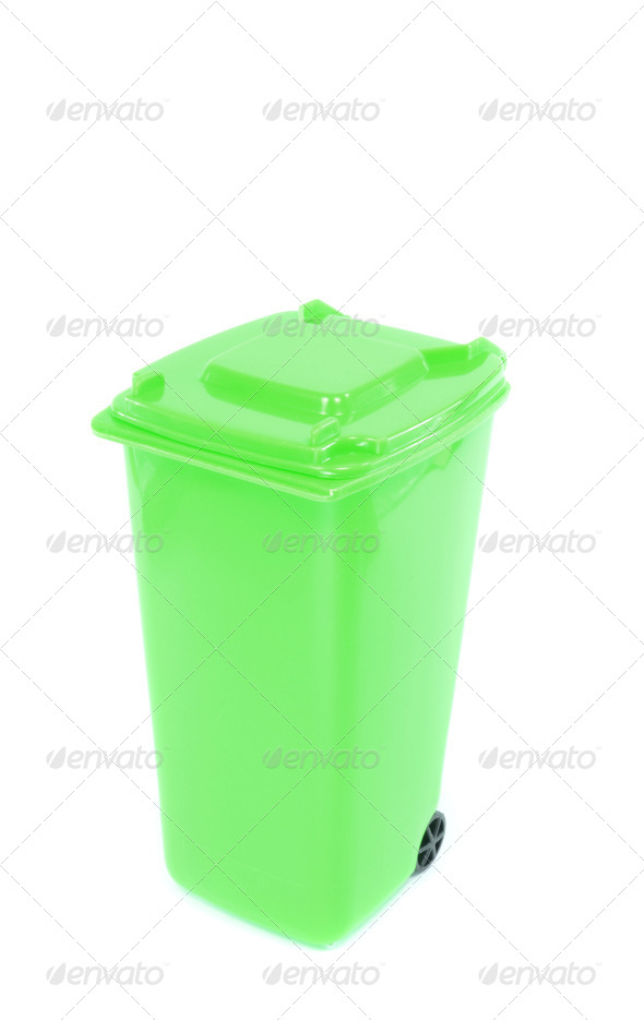 Green Recycling Wheelie Bin - Stock Photo - Images