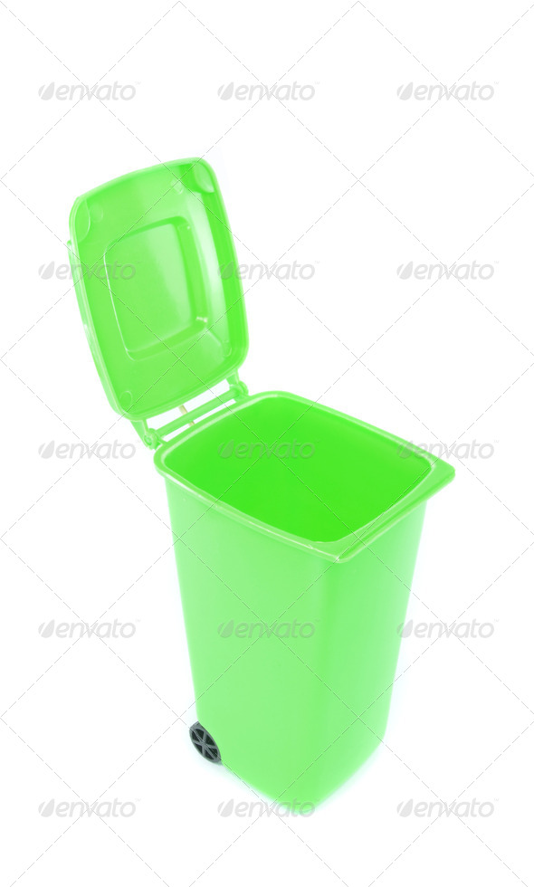 A green Recycling Wheelie Bin - Stock Photo - Images