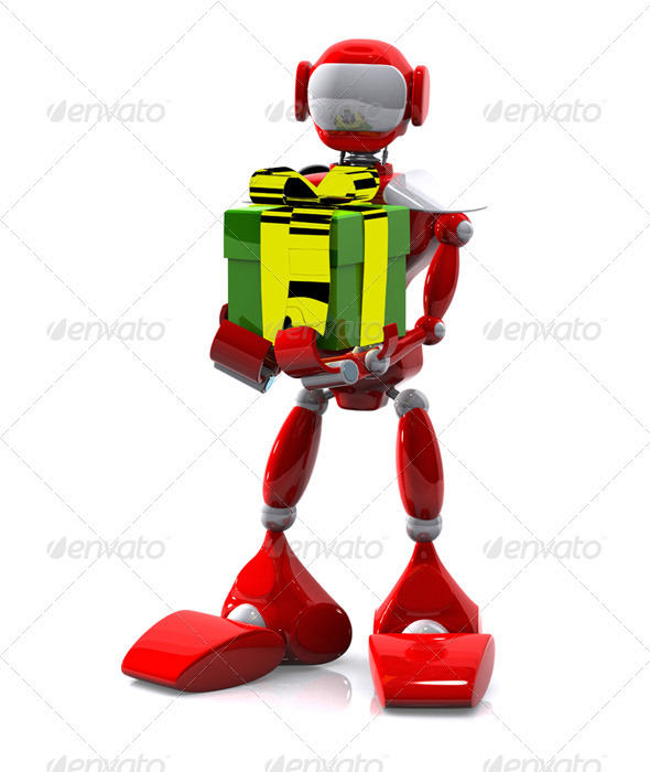 Robot with a Gift - Objects 3D Renders