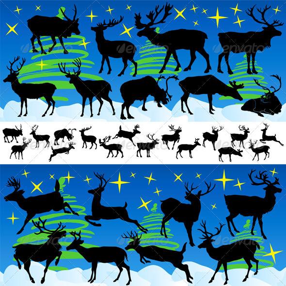 Reindeer Christmas Silhouettes and Isolated on Whi - Christmas Seasons/Holidays