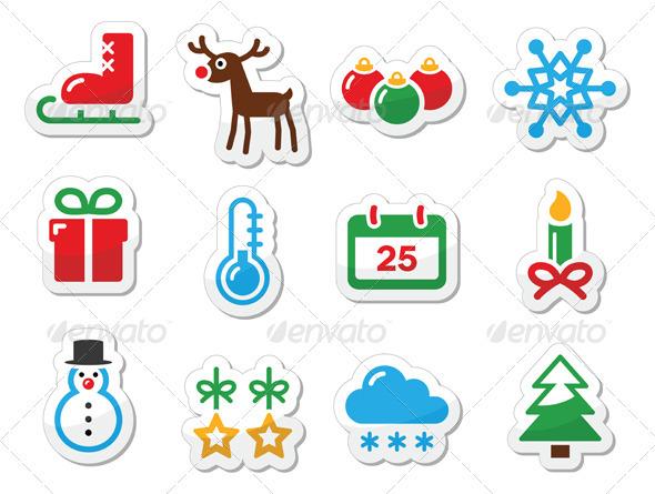 Christmas winter black icons set as labels - Christmas Seasons/Holidays