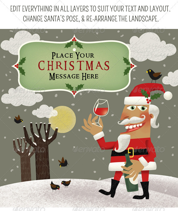 Santa's Christmas Cheer with a Bottle of Wine - Characters Illustrations