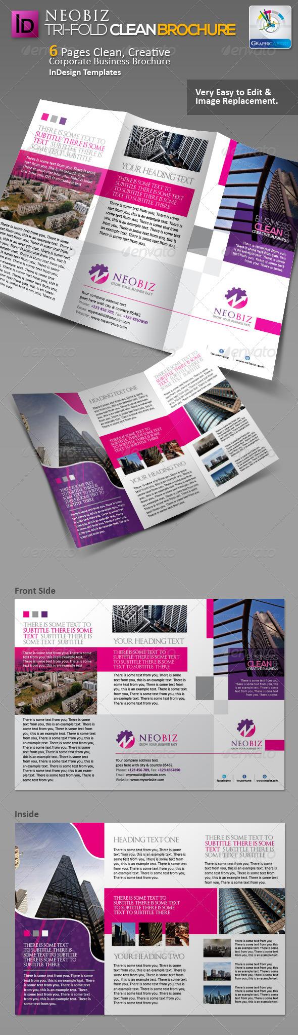 NeoBiz Tri-fold Clean Brochure - Corporate Brochures