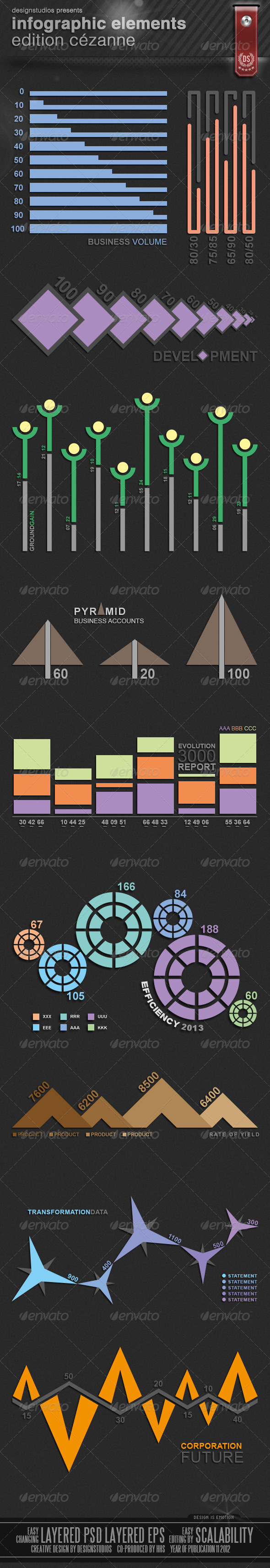 Infographic Elements Edition Cézanne - Infographics