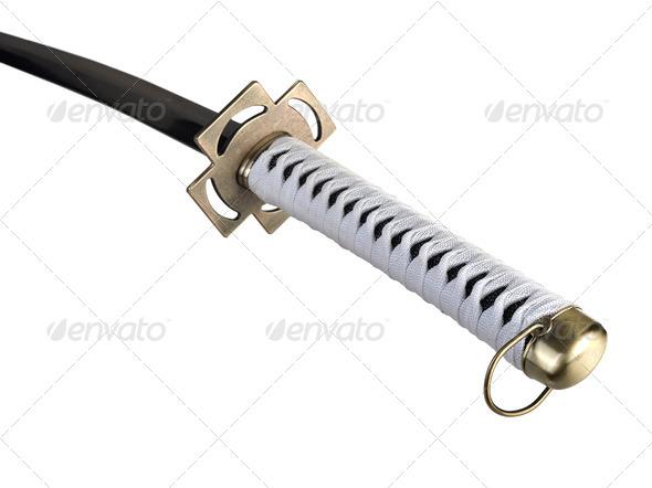 Katana sword isolated on white - Stock Photo - Images