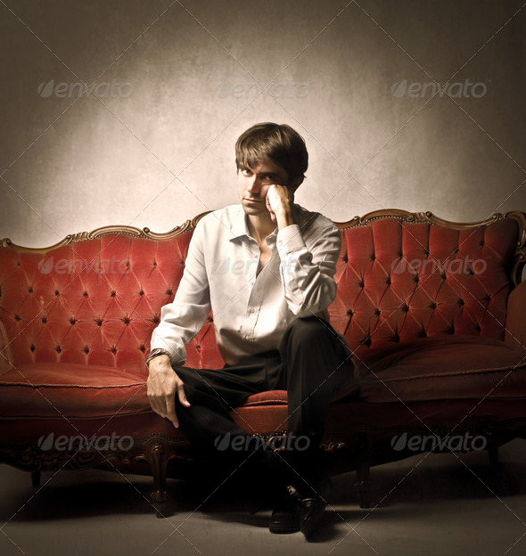 Man on the Sofa - Stock Photo - Images